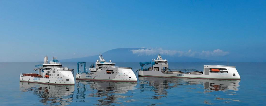 Slik kan ein sjå føre seg Aeolus sin Ulstein-designa offshore vindflåte. Illustrasjon: Ulstein