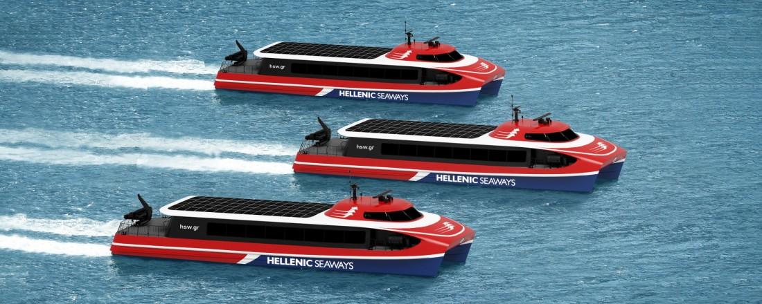 Attica Group, som er sluttkunde for de nye hurtigbåtene, er en av de største hurtigbåtoperatørene i middelhavsregionen. Illustrasjon: Brødrene Aa.