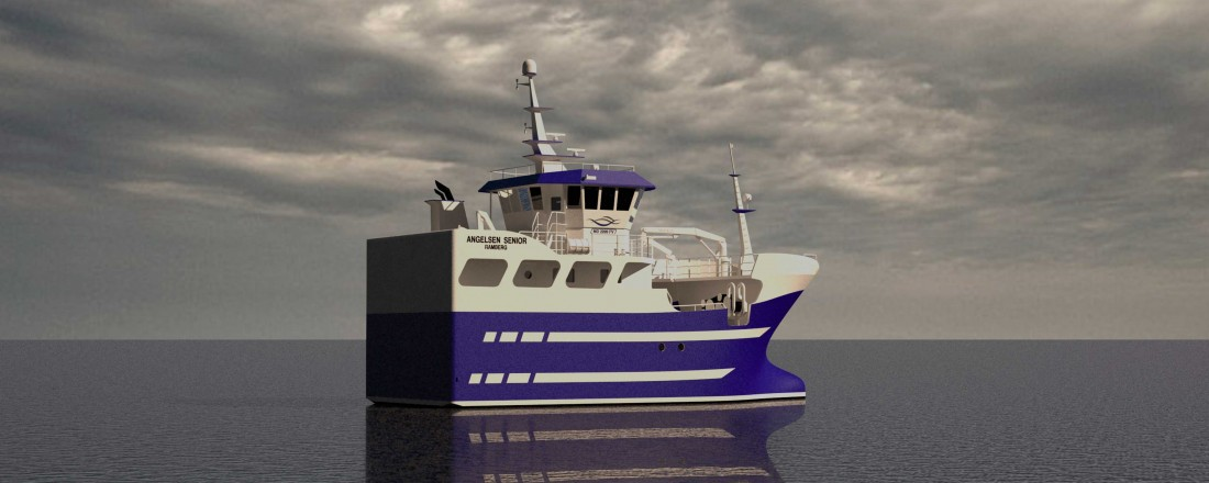 Angelsen Senior blir en dieselhybrid fiskebåt på 21 meter. Illustrasjon: Marin Design