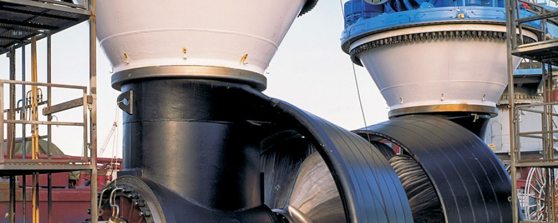 Bildet er fra Rolls-Royce sin fabrikk i Rauma Finland og viser en azimuth thruster. Foto: Rolls-Royce