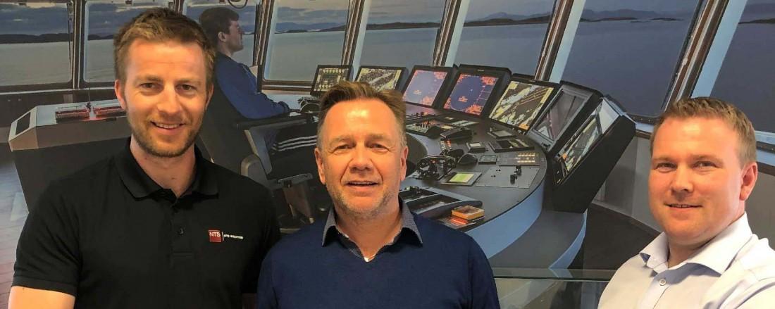 Fra venstre: Dagfinn Eliassen, marked og utviklingssjef i NFT, Geir Johan Bakke, konsernsjef i Havyard Group ASA, Oddleif Wigdahl, daglig leder i NFT. Foto: Havyard
