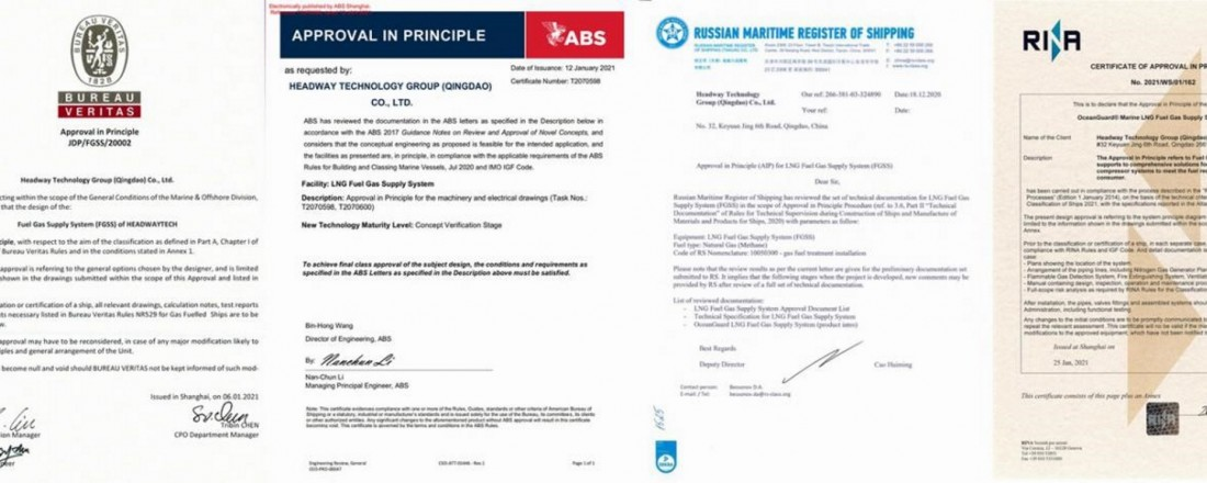 The AiP Certificate issued by BV, ABS, RS, and RINA (left to right)
