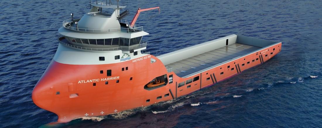 Kleven Verft skal utruste og levere Atlantic Harrer, et Havyard 833 WE plattform supplyskip som en underleverandør for Havyards verft i Leirvik. Illustrasjon: Havyard