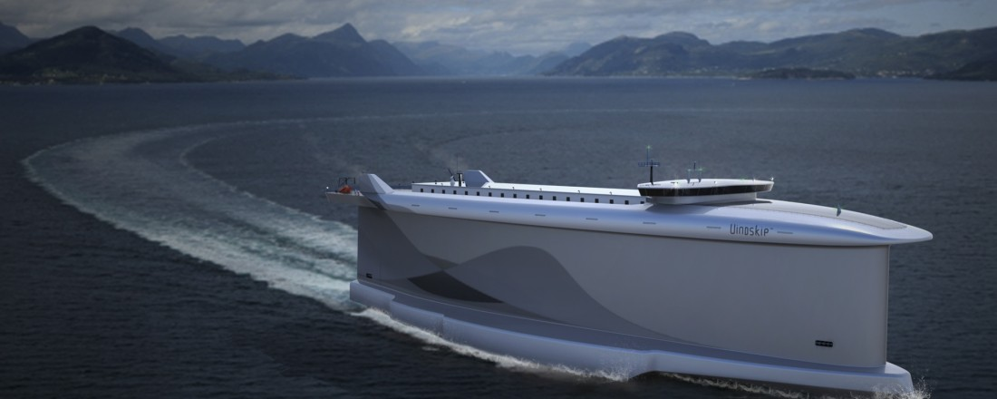 The unique Vindskip car-carrier vessel design uses a unique body design alongside LNG/LBG to produce the lowest possible emissions for its market segment. Photo source: Vindskip AS