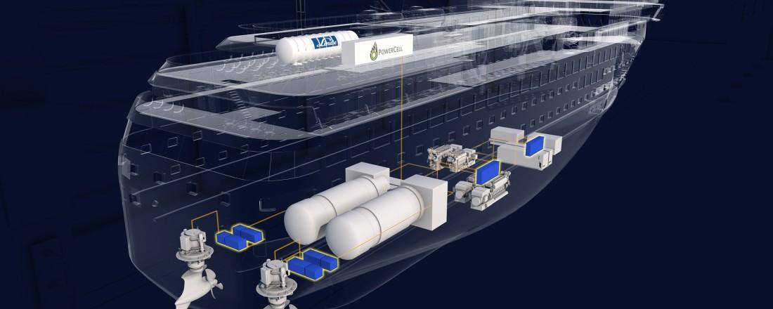 Illustrasjon av skipets fremdriftssystemer med LH2 tank og brenselceller integrert. Ill: Havyard