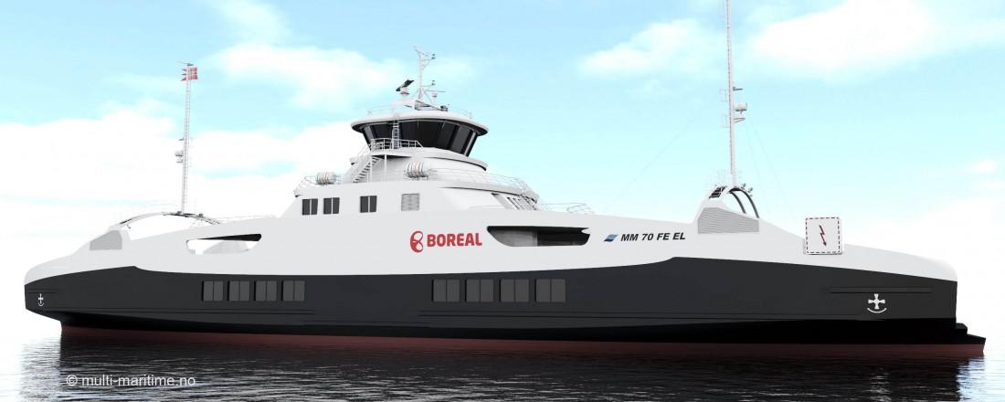 Vard Brevik bygger helelektrisk ferje til Boreal. Design er fra Multi Maritime. Ill: Multi Maritime