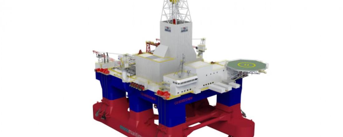 Boreriggen designet av Moss Maritime og er av typen CS 60 Eco MW. Rolls-Royce skal levere motorer og thrustere. Riggen skal leveres fra verftet Keppel Fels i Singapore i 2021.Illustrasjon:  Awilco Drilling/Moss Maritime