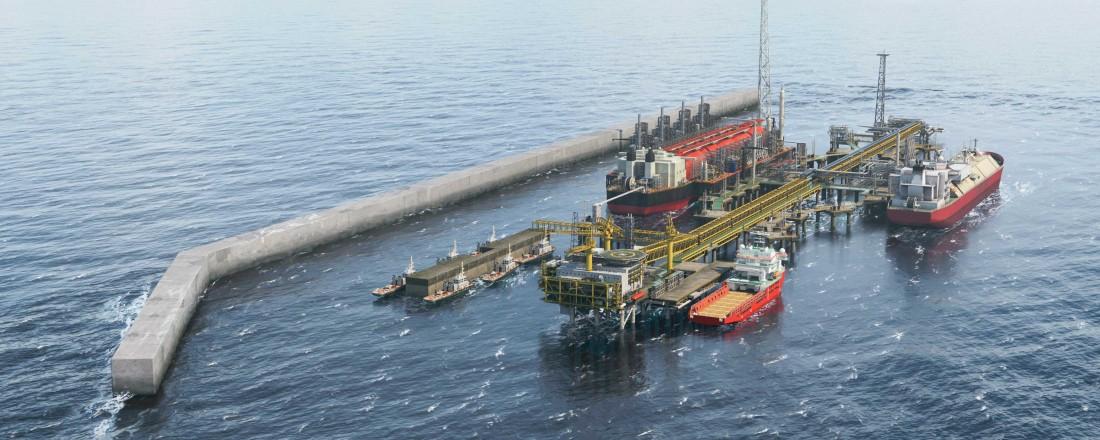 Uptime skal levere gangveiløsninger BPs LNG-prosjekt, lokalisert 10 km utenfor kysten av Senegal og Mauritania. Ill: Uptime