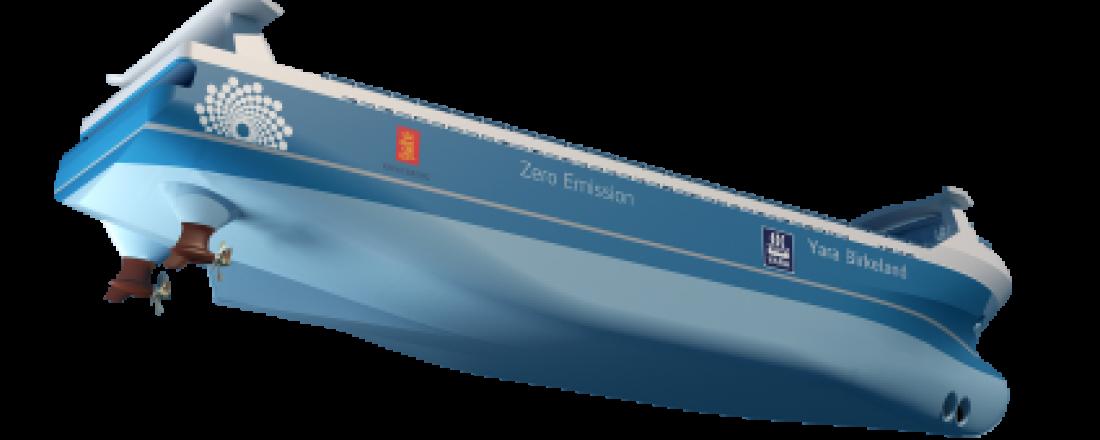 Illustrasjonen viser de to trekkende azimuth propellene fra Brunvoll som skal besørge framdrift og manøvrering av verdens første autonome skip Yara Birkeland. Ill: Marin Teknikk AS / Brunvoll AS