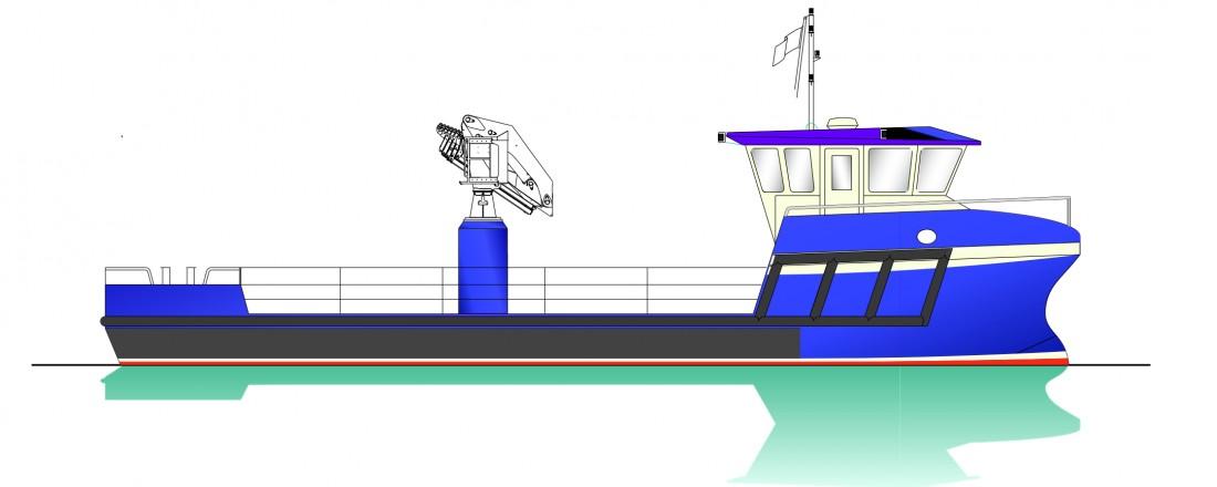 Model of the vessel. Illustration Skagen Ship Consulting
