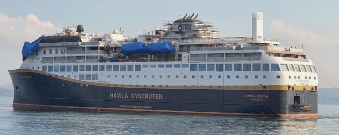 Det første av de nye kystruteskipene ventes levert i løpet av de nærmeste ukene. På bildet Havila Capella. Foto: Havila Kystruten.