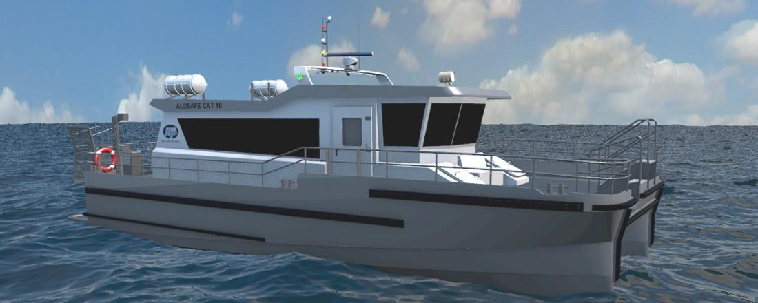 Maritime Partner AS i har inngått avtale om bygging av en ny 16 meter katamaran, med levering andre kvartal 2022. Illustrasjon: Maritime Partner.