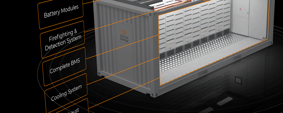 The Corvus BOB is a complete energy storage system (ESS) and class-approved, modular battery room solution available in 10-foot and 20-foot container sizes. Illustration: Corvus Energy