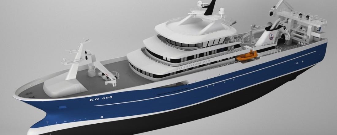 Den nye pelagiske tråleren Christian í Grótinum erstatter et nåværende fartøy med samme navn. Foto:  Karstensens Skibsværft A/S