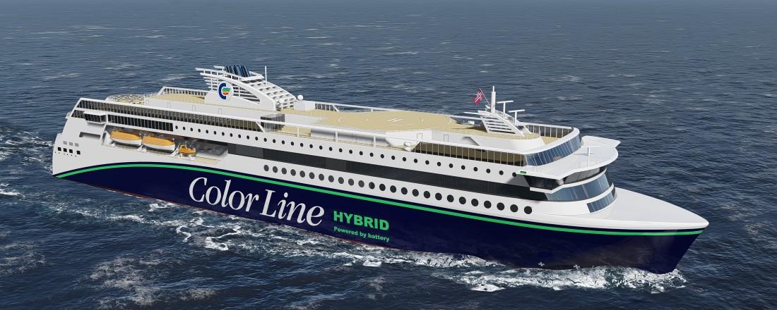 Color Line og Ulstein Verft har signert en intensjonsavtale om bygging av en stor hybridferje. Ill: Ulstein