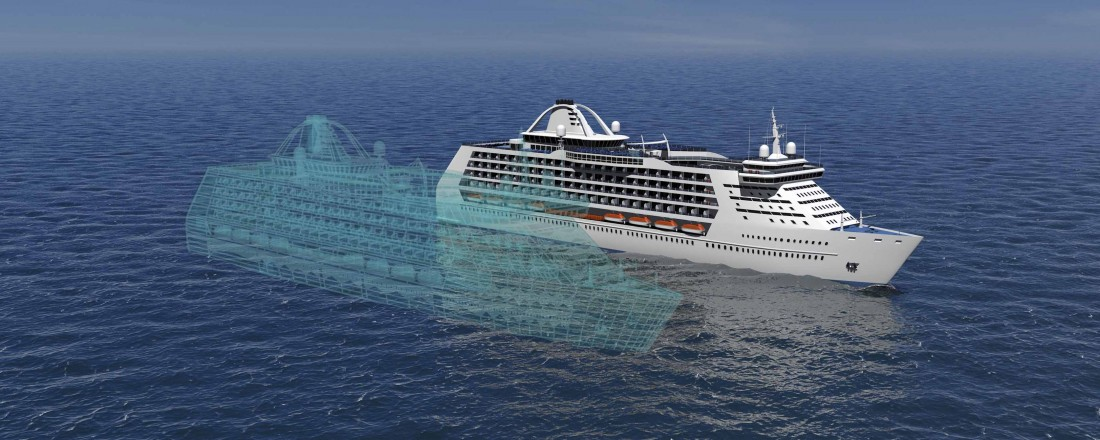 En digital tvilling er en digital kopi av et reelt skip, inkludert alle systemer, som samkjører all tilgjengelig informasjon om skipet i en digital verden. På denne måten blir det mulig å optimalisere design, drift, produksjon og bærekraft gjennom hele livssyklusen til skipet. Illustrasjon: OSP