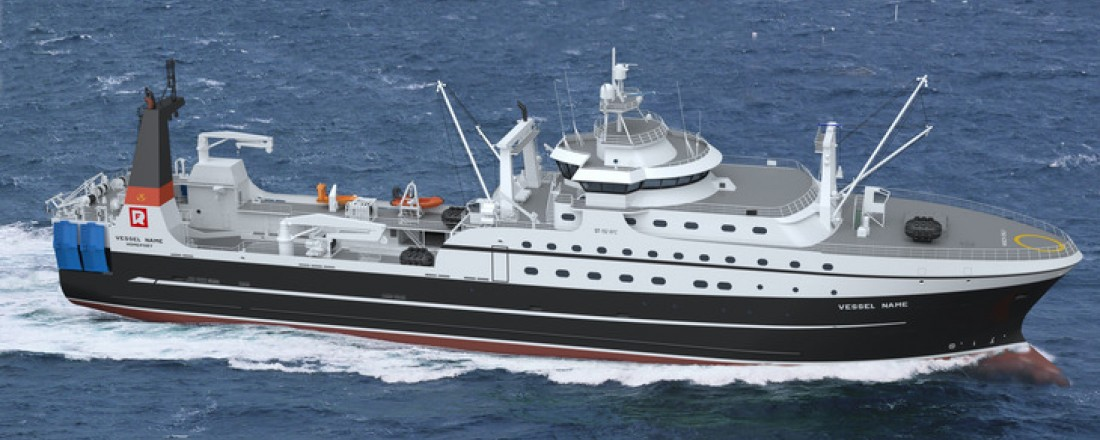 Skipsteknisk har designen (ST-192) på en ny fabrikktråler, som skal bygges av Tersan. Illustrasjon: Skipsteknisk