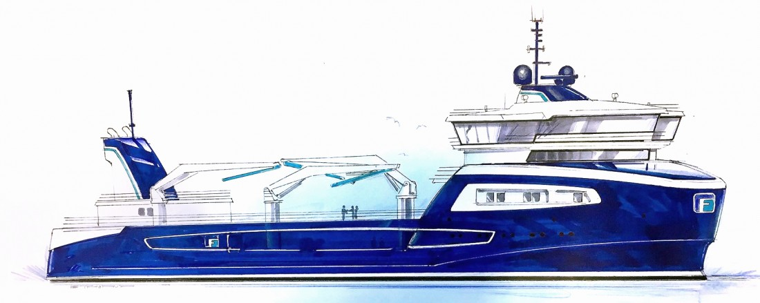 ABB leverer hybrid kraftsystem til FrøyGruppens nye brønnbåt. Illustrasjon: ABB
