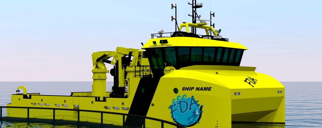 Tomra Engineering har design på den nye servicekatamaranen til Finnsnes Dykk & Anleggservice, med benevnelsen Coastcat 25W. Illustrasjon: Tomra Engineering/Finnsnes Dykk & Anleggservice.