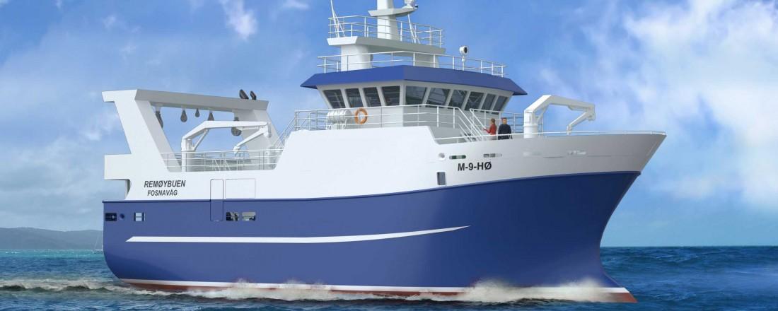 Remøybuen får bygd sitt nye fiskefartøy hos Vard Aukra. Bilde: West Maritime