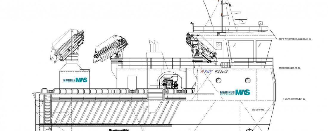Nybygget Restless Wind skal inn i flåten til Marinus Aquaservice i desember 2018. Arbeidstegning: Heimli Ship Design
