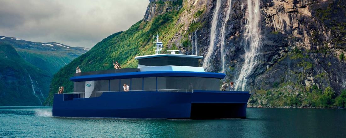 Maritime Partner skal bygge turistbåt for Geiranger Fjordservice. Illustrasjon: Maritime Partner