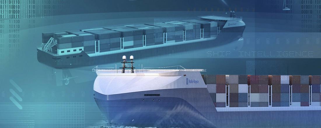 Rolls-Royce er på full fart inn i den autonome tidsalderen for skip, og skal jobbe tett sammen med Google. Illustrasjon: Rolls-Royce