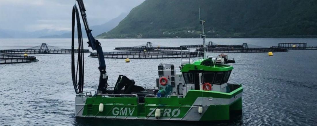 Den elektriske oppdrettskatamaranen til Wilson tar utgangspunkt i de tekniske løsningene Grovfjord Mek. utviklet og implementerte på GMV Zero, verdens første batterielektriske oppdrettsfartøy. Foto: GMV