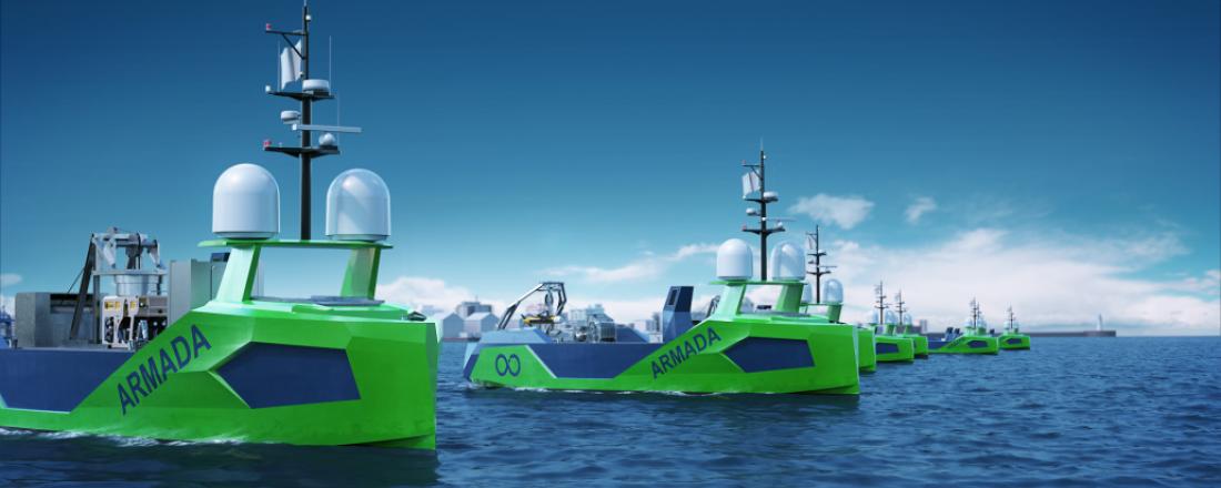 Grovfjord Mek. Verksted skal bygge en stor flåte av slike førerløse fartøy for Ocean Infinity Group. Illustrasjon: Grovfjord Mek. Verksted