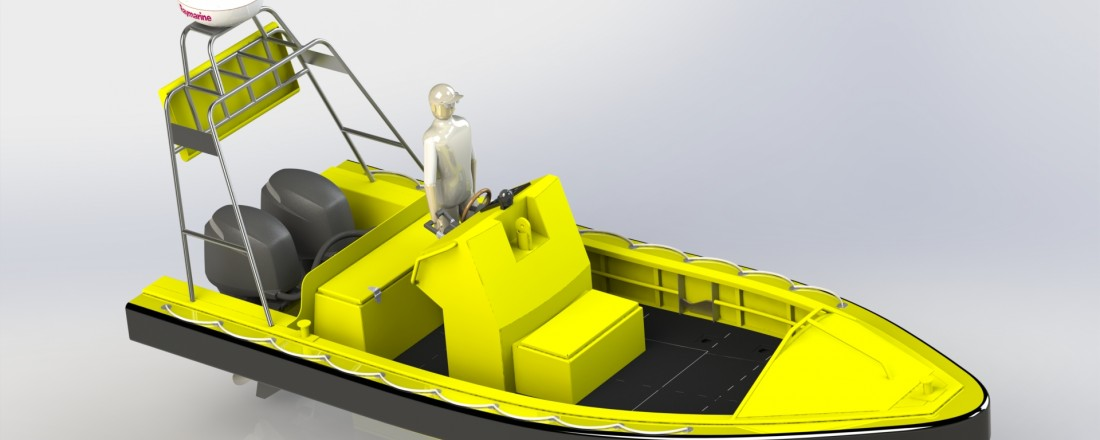 Arbeidsskisse av båttypen Mare Safety skal levere til det amerikanske markedet. Ill: Mare Safety