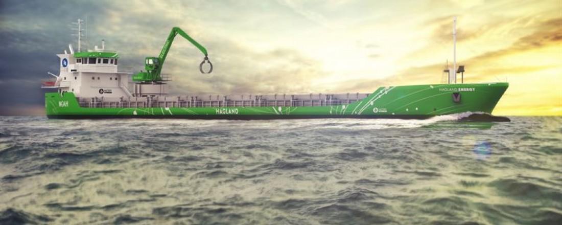 Illustrasjon av hvordan Hagland Captain kan komme til å se ut etter installering av Wärtsiläs hybridløsning. Illustrasjonsbilde: Hagland Shipping