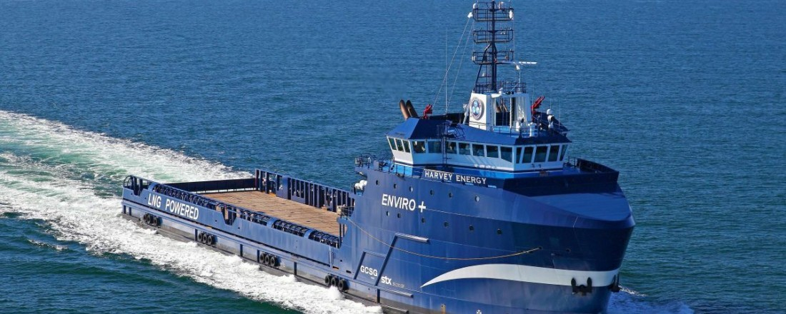 Det første batterihybride LNG fartøyet i USA, PSV- fartøyet «Harvey Energy». Foto: Corvus.