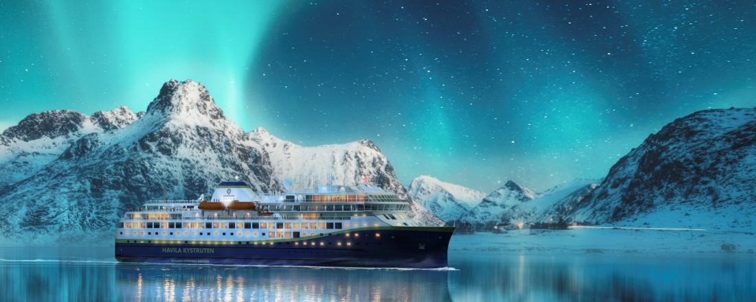 Dei nye skipa til Havila Kystruten har 179 lugarer og plass til over 600 gjester. No vert dei to første skipa seglingsklare i løpet av sommaren.  Illustrasjon: Havila Kystruten
