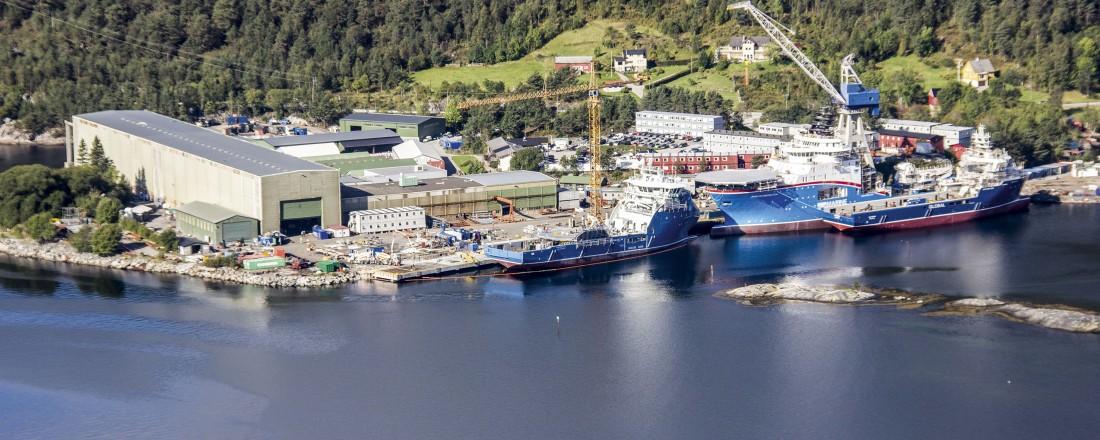 Dagens verft i Leirvik, der Havyard har samlet all skipsbygging. Foto: Havyard