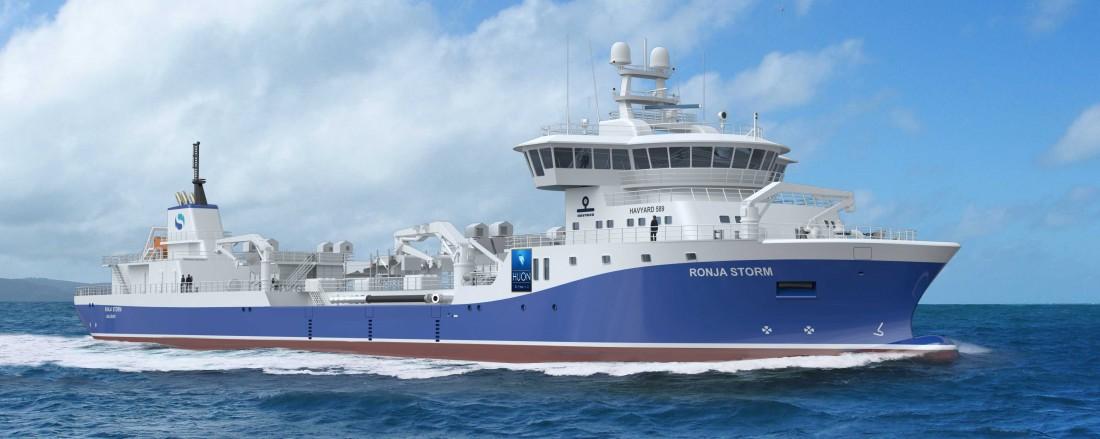 Verdens største brønnbåt vil bli designet, utrustet og fylt opp av utstyr fra Havyard.  Illustrasjon: Havyard