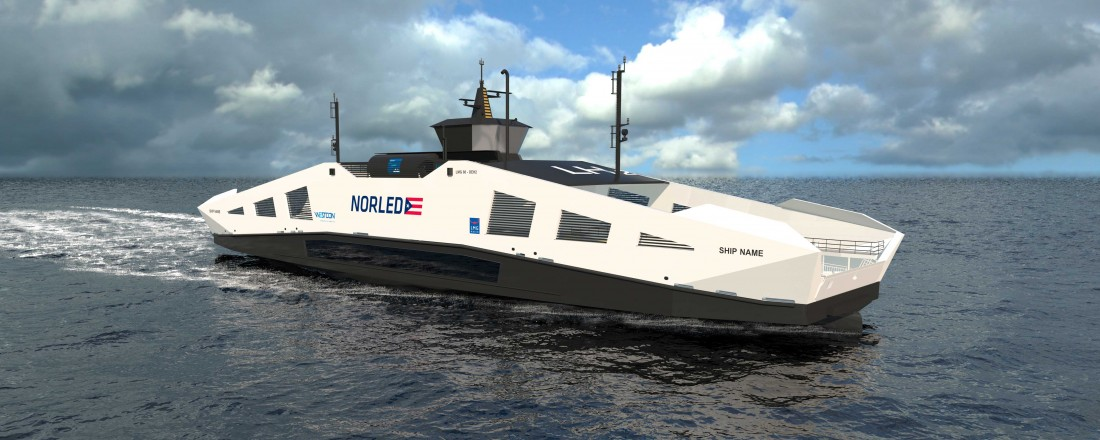 LMG Marin har design på Norleds hydrogenferje. Skisse: LMG Marin
