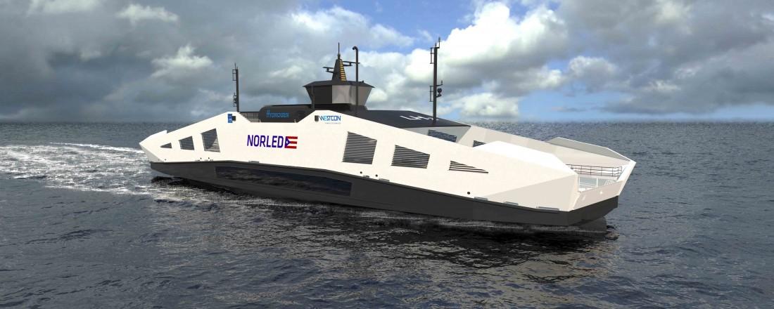 Slik kan den nye hydrogenferjen til Norled komme til å se ut. Illustrasjonsbilde: LMG Marin/Norled