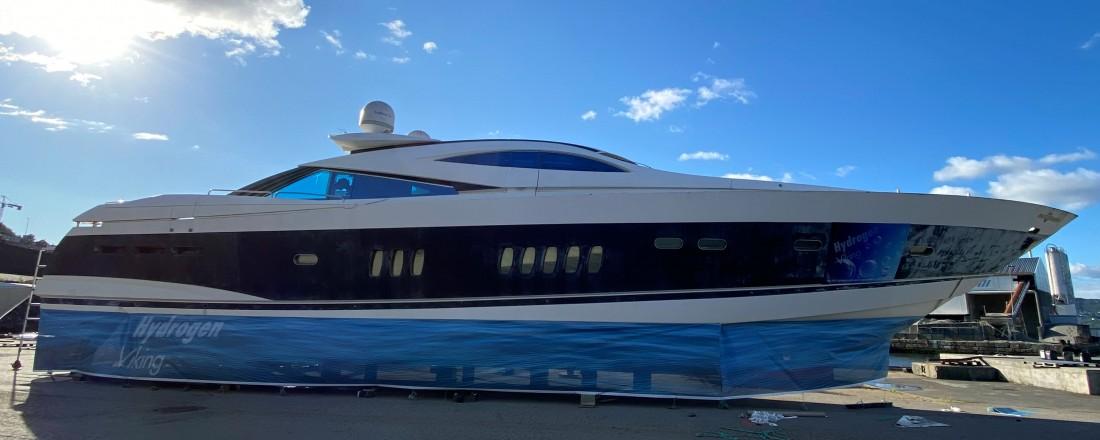 Hydrogen Viking er ein ombygd Sunseeker. Foto: Green Yacht.
