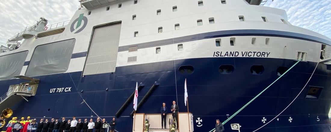 Island Offshore har tatt levering av kraftpluggen Island Victory. Dei unike kapasitetane har skaffa skipet oppdrag både i Barentshavet og i Mexicogulfen dei komande månadane. Foto: Island Offshore