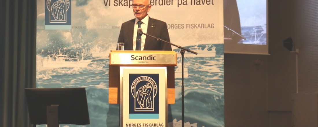 Fiskarlagets leder Kjell Ingebrigtsen under åpningen av landsmøtet- Foto: John Inge Vikan