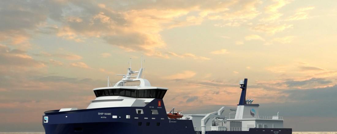 Den nye brønnbåten fra Myklebust Verft til Sølvtrans, får design av type Kongsberg NVC 389. Illustrasjon: Kongsberg/Myklebust