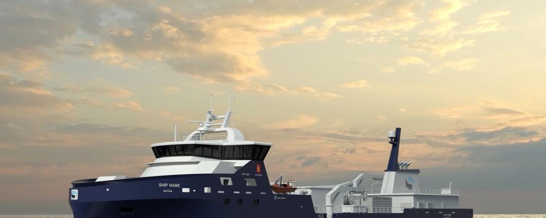 To slike brønnbåter av design NVC 389 bygges ved Myklebust verft for Sølvtrans. Nå kan en kontrakt på ytterligere to båter være underveis. Illustrasjon: Kongsberg/Myklebust Verft