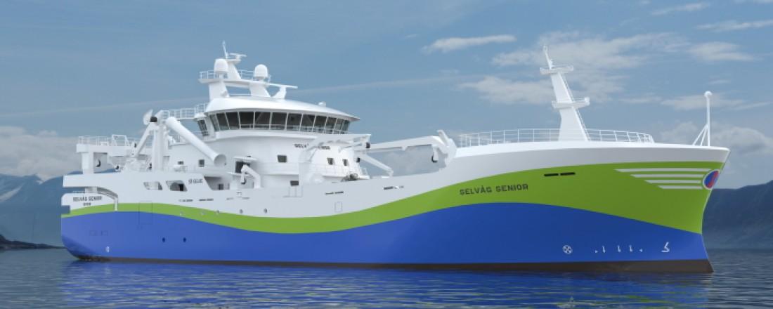 Den nye kombinerte ringnotsnurper/pelagisk tråler blir fullspekket av ny og grønn miljøteknologi. Illustrasjon: Skipsteknisk.