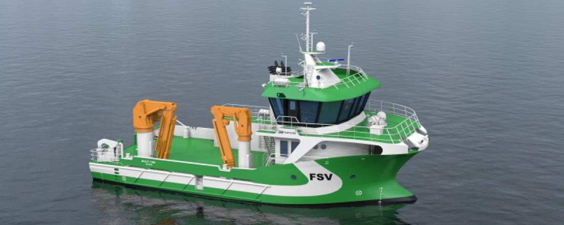 Fartøyet er spesielt utviklet for tyngre frakte- og slepeoppdrag, service og support i havbruksnæringen, og er utviklet av FSV Group og Solstrand Trading. Illustrasjon: FSV Group.