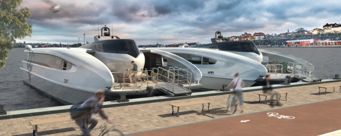 Beluga24 vil revolusjonere vannbåren offentlig transport gjennom energieffektivitet, bærekraft og hastighet ifølge Green City Ferries. Illustrasjon: Green City Ferries