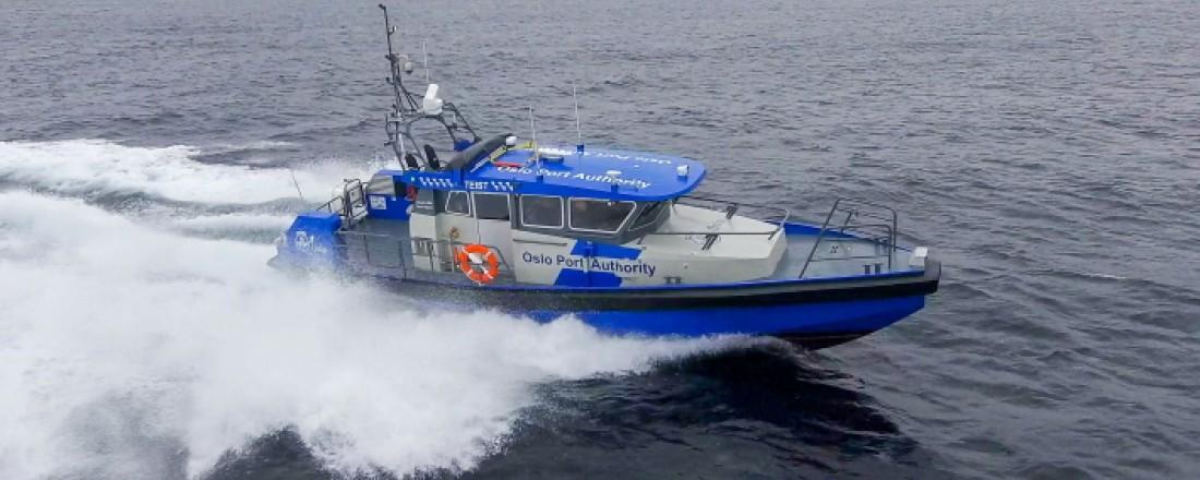 Det nye hurtiggående oppsynsfartøyet som er levert til Oslo Havn. Foto: Maritime Partners.