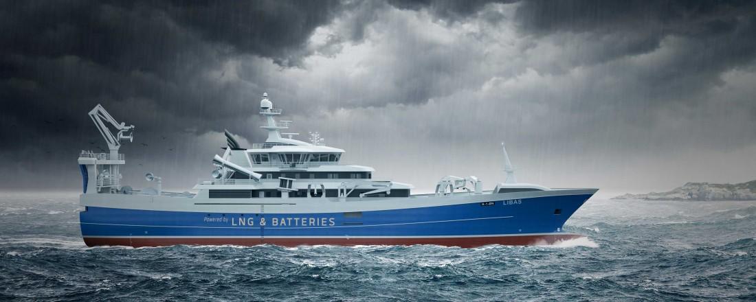 Nye Libas skal kunne gå på både batteri og LNG. Skisse: Salt Ship Design