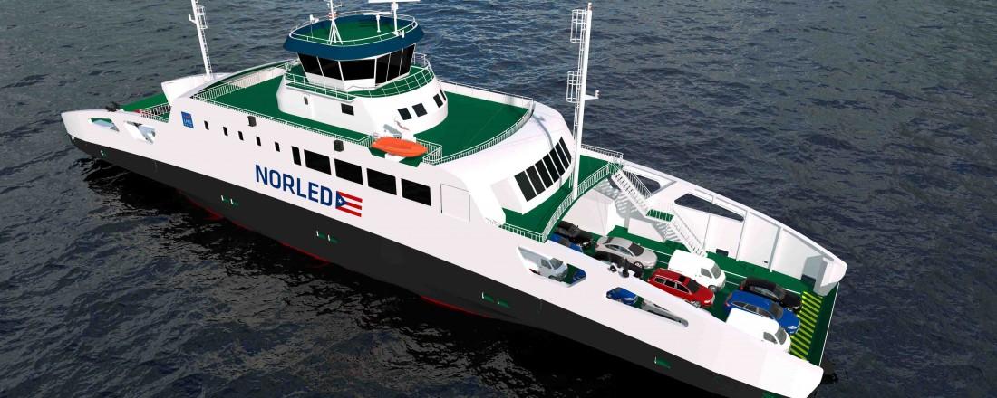 Norled har inngått avtale med LMG Marin om å levere design for to pendelferjer som Norled skal operere på Finnøysambandet i Ryfylke. Illustrasjon: LMG Marin