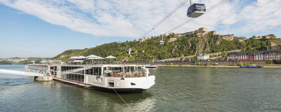 Viking Cruises utvider flåten enda en gang, denne gang med syv nye skip for elvecruise. Dette trafikkerer på Rhinen. Foto: Viking Cruises