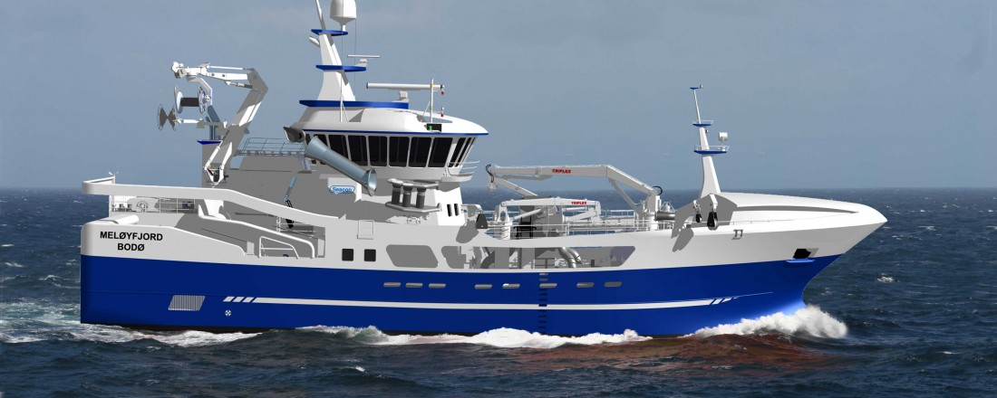 Nye Meløyfjord er designet av Seacon og skal bygges hos Stadyard. Illustrasjon: Seacon